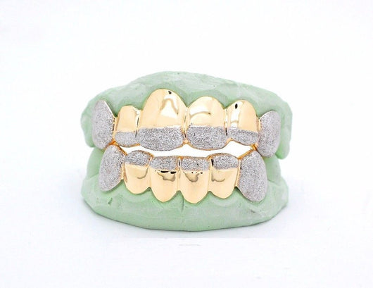 CUSTOM 10K GOLD OR 14K PLATED SILVER GOLD GRILLZ DIAMOND DUST TIP PUNCHOUT STYLE - FANATICS365