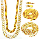 DREAM CHASER 3 CHAINS SET GOLD FINISH MIAMI CUBAN LINK NECKLACE ICED OUT - FANATICS365