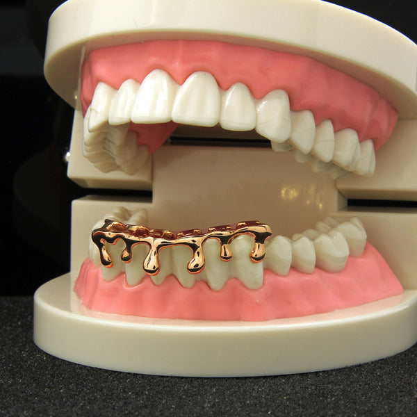 **50% OFF**  SALE! 14k Rose Gold Plated Drip Bottom Grillz - FANATICS365