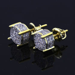 8MM GP Two Tone ICED OUT CZ Micropave Stud Earrings - FANATICS365