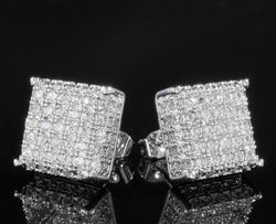18K WHITE GOLD ICED OUT AAA LAB DIAMOND MICROPAVE SQUARE STUD EARRINGS - FANATICS365