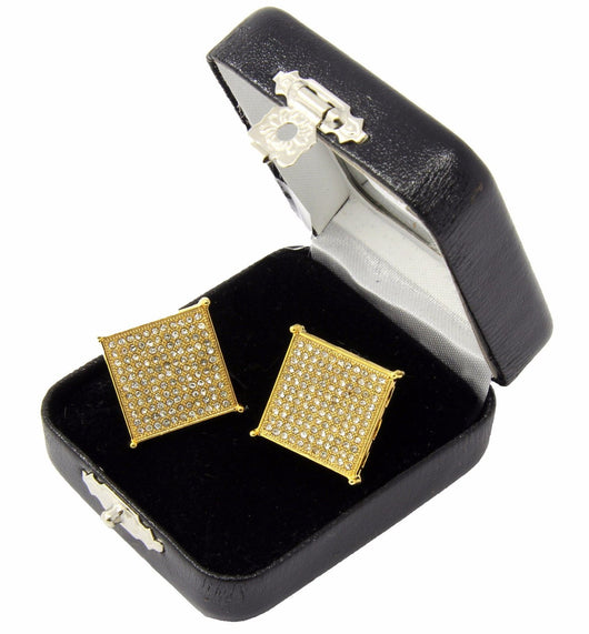 Iced Out Square Flat Screen Block Screw Back Stud Earrings - FANATICS365