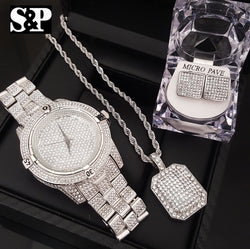 ICED OUT BLING BOX!  LAB DIAMOND WATCH, NECKLACE & EARRINGS COMBO SET - FANATICS365