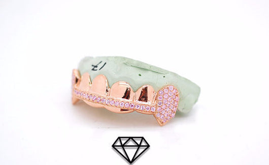Custom 6 Piece 10k Rose Gold Grillz Bar Grillz w/ Pink CZ Lab Diamonds Iced Out - FANATICS365