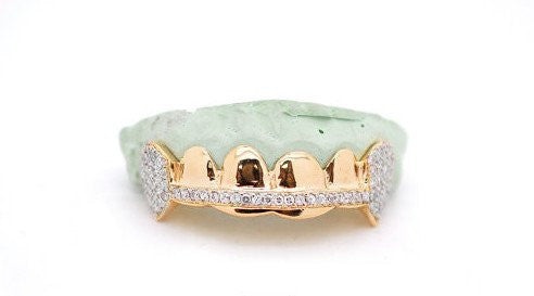 Custom 6 Piece 10K Gold or Gold Plated Bar Fang Grillz w/ White CZ Lab Diamonds - FANATICS365
