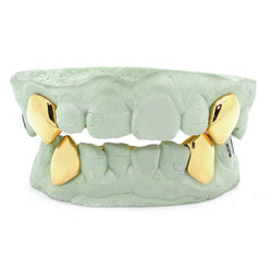 Custom 2 Piece K9 Fangs 14k or Gold Plated Sterling Silver Top or Bottom Fangs Caps - FANATICS365