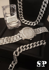 THE ICED OUT BLING BOX- WATCH, NECKLACE, EARRINGS & BRACELET COMBO SET - FANATICS365