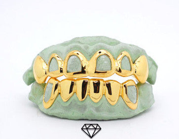 Custom Open Face Windows 14k Gold Plated .925 Sterling Silver Grillz - FANATICS365