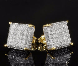 18K Gold ICED OUT Simulate Diamond Micropave Stud Earrings - FANATICS365