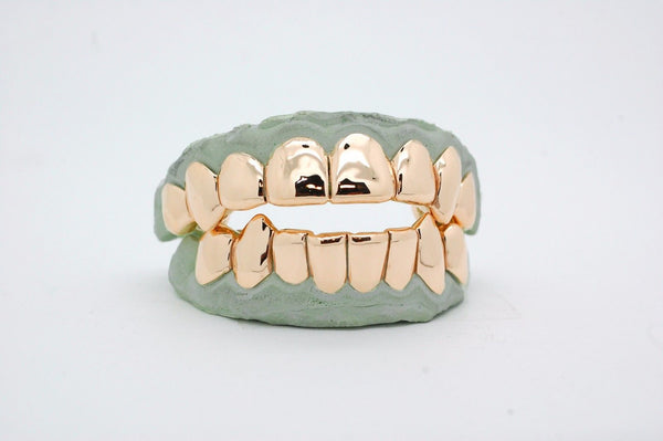 Custom  14k PG or 10K Gold Grillz DEEP CUTS Silver Top OR Bottom Slugz Grillz Perm Style - FANATICS365
