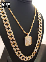 Full Iced out, D-Shape Pendant Necklace, Cuban Chain Hip Hop Necklace Set - FANATICS365