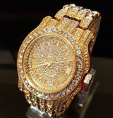 18K GOLD PLATED ICED OUT SIMULATED DIAMOND WATCH - FANATICS365