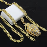 "Gold Plated Iced Pendant 24"" Cuban Chain Necklace - FANATICS365"