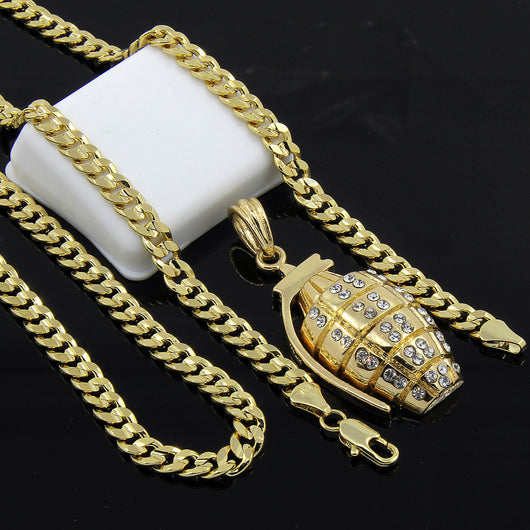 Gold Plated Iced Pendant 24