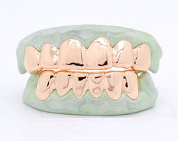 Custom 10k 14k 18k Gold Grillz 6 Piece Top & Bottom Set Gold Slugz Grill Solids Perm Pullouts - FANATICS365