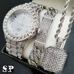 ICED OUT HIP HOP SILVER PT WATCH & FULL ICED NECKLACE & BRACELET COMBO SET - FANATICS365