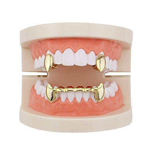 2 Pc  Single Fang And 6 bottom Grillz Set 14k GP - FANATICS365