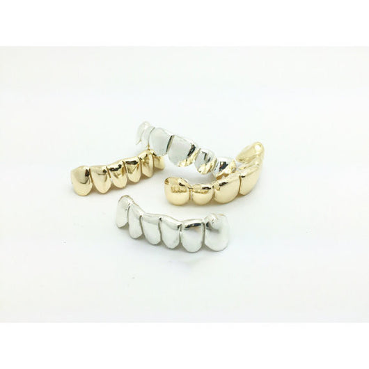 Custom 6/8 Piece 14k Plated Gold Grillz DEEP CUTS Silver Top OR Bottom Slugz Grillz Perm Style - FANATICS365