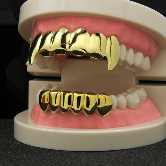 14K GP FANG GRILLZ GRILL TOP & BOTTOM - FANATICS365