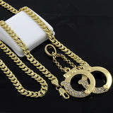 "14k Gold Plated Hip-Hop Iced Cz Handcuff 24"" Cuban Chain Necklace - FANATICS365"