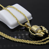 "Iced Microphone & Beats Hip-Hop Pendant 24"" Rope Chain Necklace - FANATICS365"