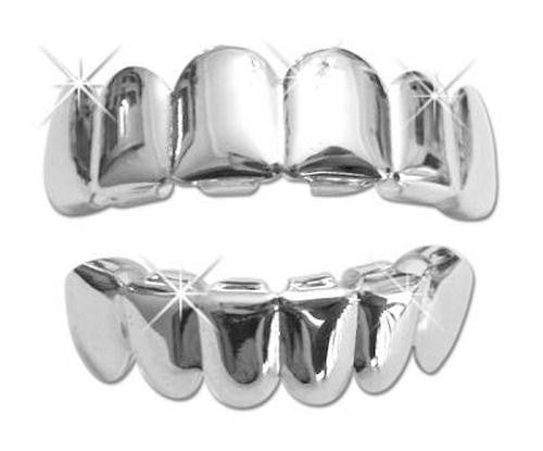 Silver Plated 6 Tooth Grillz Grill Top & Bottom - FANATICS365