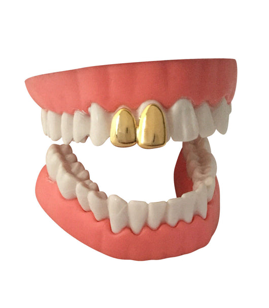 Double Cap 14k GP Grillz Two Teeth w/Box - FANATICS365