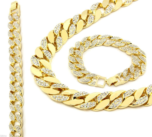 14k GP Iced Out CZ Chain & Bracelet Set - FANATICS365