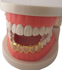 *50%* OFF SALE - 14K GP Grills Grillz Bottom Lower Open Face Fangs - FANATICS365