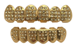14K Gold Teeth GRILLZ Top Bottom ICED OUT CZ Set w/Box - FANATICS365