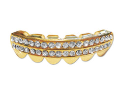 14K GP Grills Grillz - Bottom Lower Iced Out 2 Row - FANATICS365