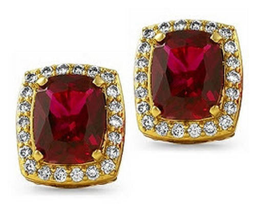 Iced CZ Red Ruby Rich Rick Ross Birdman Earrings - FANATICS365