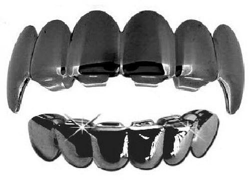 Gun Metal Grills Grillz Upper & Lower Set New - Fangs - FANATICS365