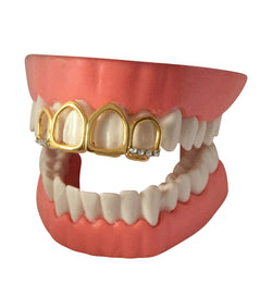14K GP Upper Front 4 Teeth Grillz Grill Tooth Cap w/ CZ Stones - FANATICS365