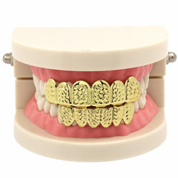 14k GP Diamond Cut Grillz Top & Bottom Set - FANATICS365