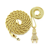 "Iced Out 14K GP Electric Power Plug & 30"" Rope Chain Set - FANATICS365"