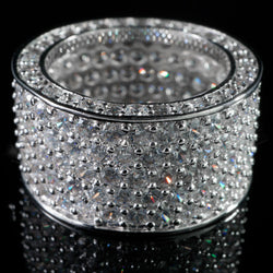 18K White Gold 11mm Silver MICROPAVE CZ Iced Out Ring - FANATICS365