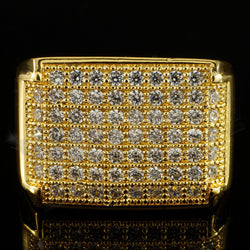18K Gold Iced Out Hip Hop Wedding Engagement Bling MICROPAVE CZ Ring - FANATICS365