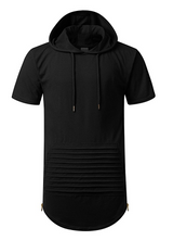 Long Length Short Sleeve Hoodie T Shirt w/ Side Zipper - FANATICS365