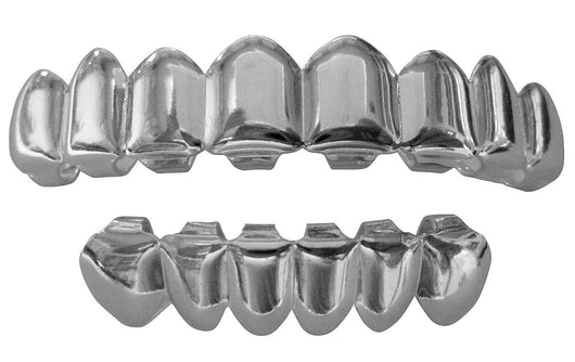 Silver Mouth Teeth Grills Grillz 8 Top 6 Lower Set - Player II - FANATICS365