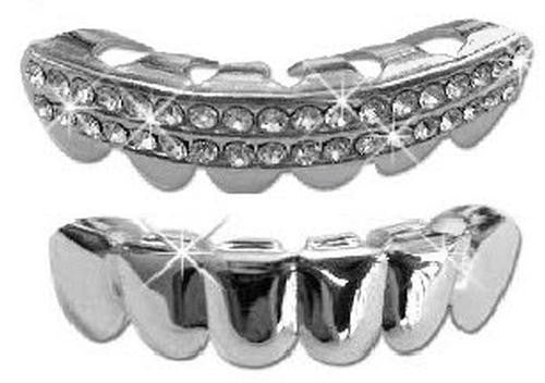 Iced Silver Platinum Grills Grillz -  2pc Set - FANATICS365