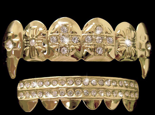 Iced Out 14K GP Fang GRILLZ w/Extra Molds and Box - FANATICS365