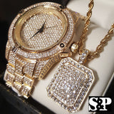 ICED OUT GP LAB DIAMOND WATCH, NECKLACE & EARRINGS COMBO SET - FANATICS365