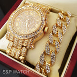 Iced Out Gold Tone Simulated Diamond WATCH & Cuban Bracelet Gift Set - FANATICS365