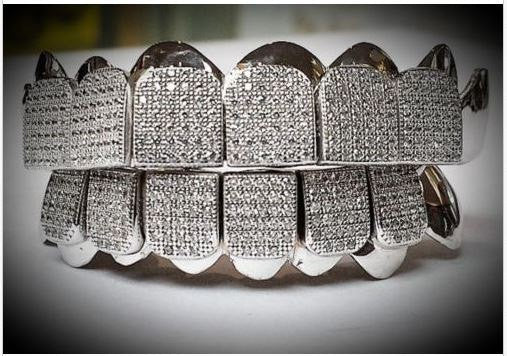 Custom Sterling Silver Iced 14k White Gold Plating Lab Diamond Grillz - FANATICS365