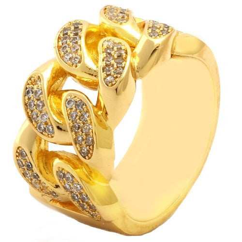 Gold Tone Full Metal Curb Chain Ring - FANATICS365