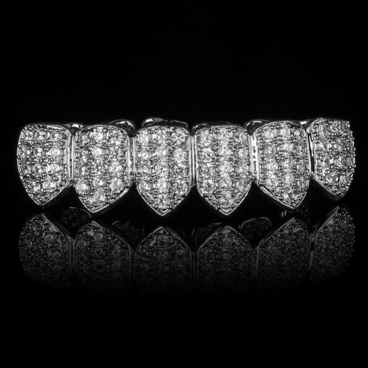 SILVER Plated CZ 6 Teeth Bottom Row GRILLZ - FANATICS365