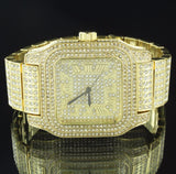 Iced Out Gold Tone Techno Pave Simulated Diamond Watch & Earrings Set - FANATICS365