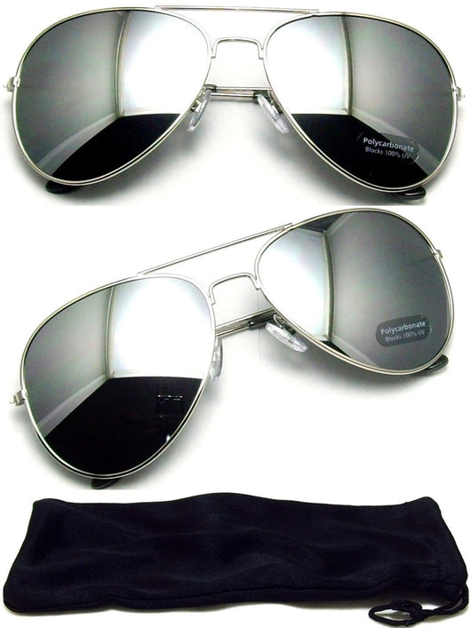 Retro Aviator Mirror Sunglasses - FANATICS365