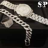 ICED OUT CZ WATCH, STAINLESS STEEL RING & BRACELET COMBO SET - FANATICS365